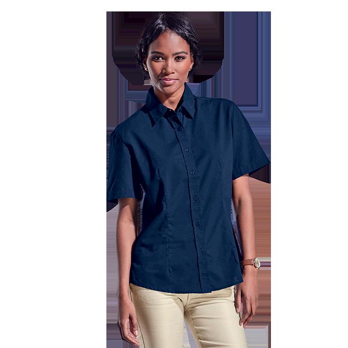 Ladies Basic Poly Cotton Blouse Short Sleeve
