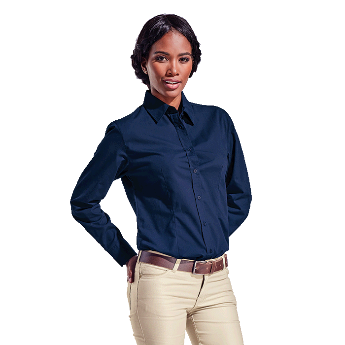 Ladies Basic Poly Cotton Blouse Long Sleeve